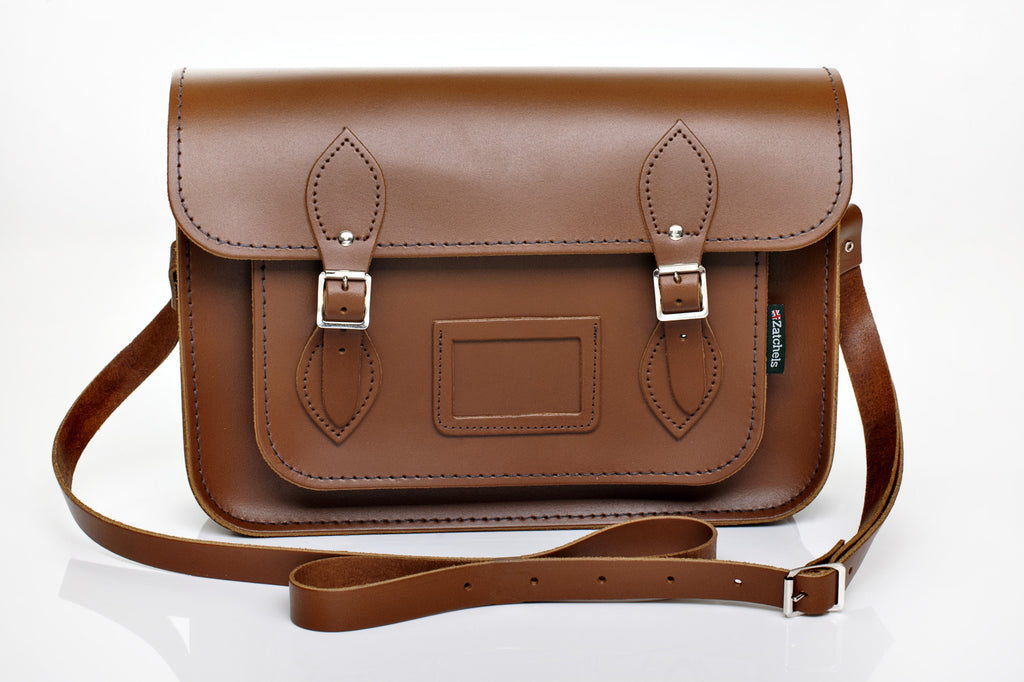 Chestnut Satchel with Mag dots 16""