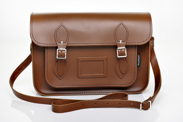 Chestnut Satchel with Mag Dots 14.5""