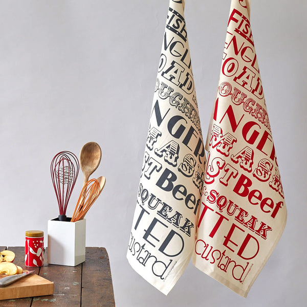 Victoria Eggs English Dinner Tea Towel - Red