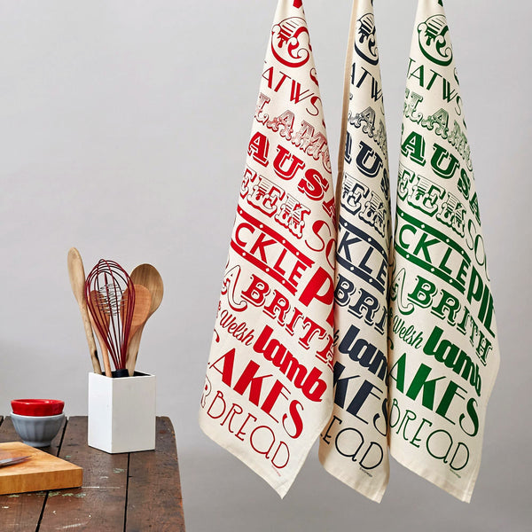 Victoria Eggs Welsh Dinner Tea Towel - Black