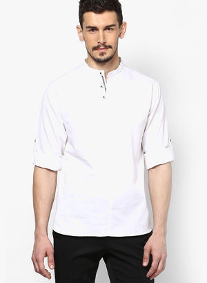 Solid White Slim Fit Kurta