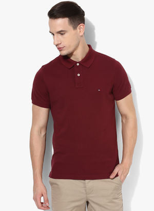 Tommy Hilfiger Maroon Solid Polo T-Shirt