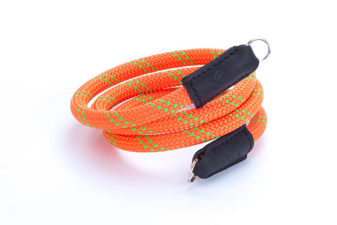 Climbing rope camera strap with leather. Handmade by SANCHATTHAI