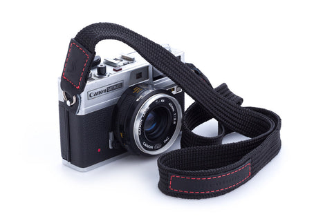 The Street (Black-Red stitch) : Personalized Nylon and leather camera strap