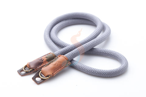 Gray climbing rope leather camera strap handmade