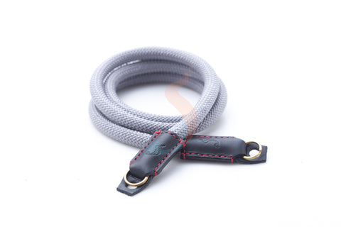 High quality gray climbing rope leather camera strap. Handmade Thai product.