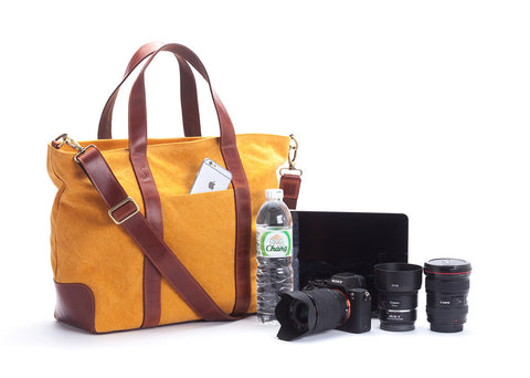 Signature v1.4 Yellow : canvas trimmed with leather handmade sanchatthai camera bag