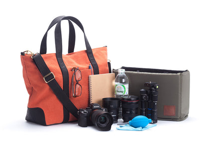 Signature v1.4 Orange : canvas trimmed with leather handmade sanchatthai camera bag