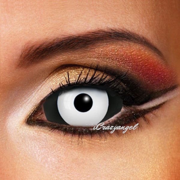 ZOMBIE DARK DRACUL BLACK & WHITE SCLERA CONTACT LENSES