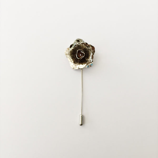 Lapel Pin Enamel - Silver Flower (1s)