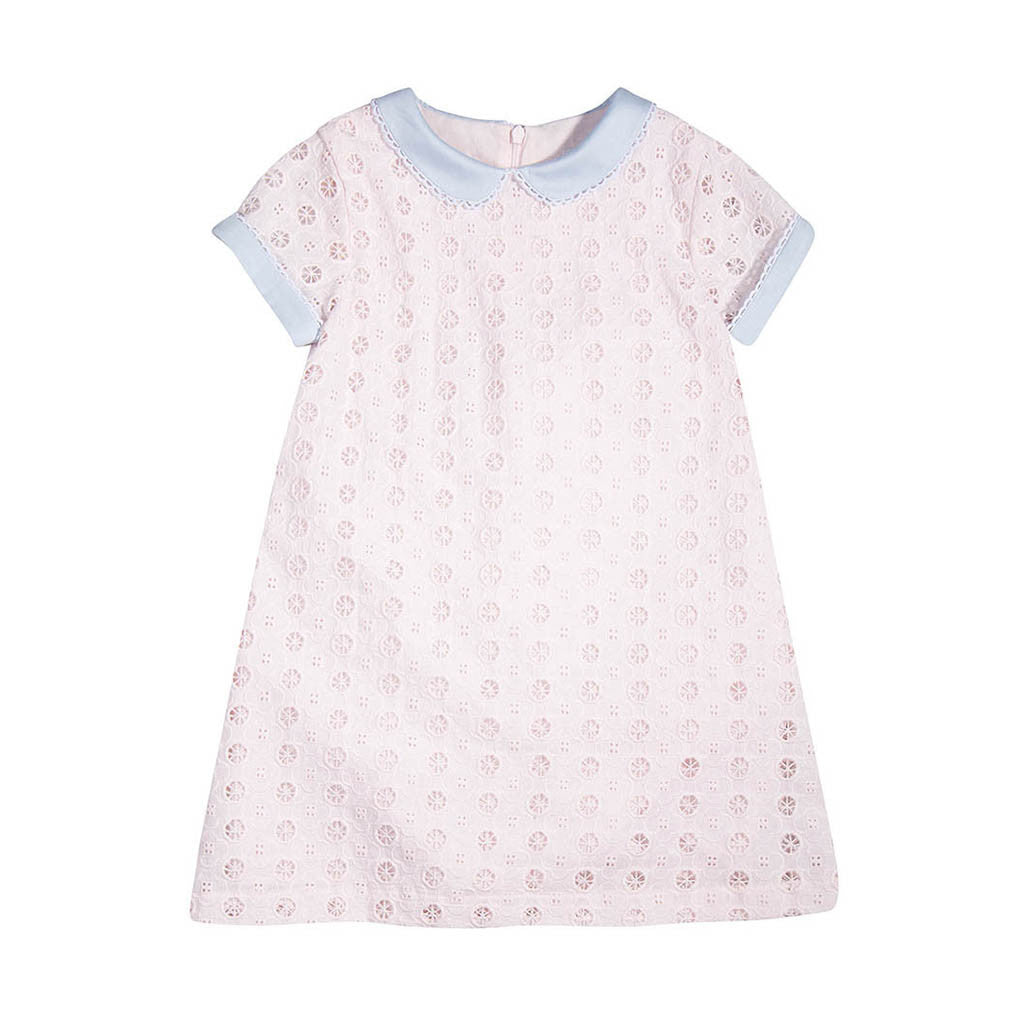Girls Pink Cotton Broderie Anglaise Dress