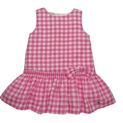 Girls Pink Gingham Cotton Dress