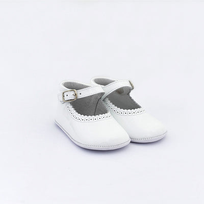 TNY White Leather Patent Pre Walker Shoes