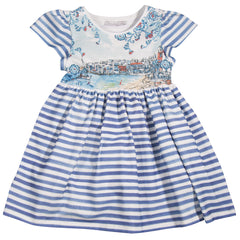 Girls Blue Striped Holiday Print Dress