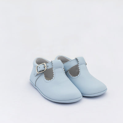 TNY Pale Blue Leather T-Bar Pre-Walker Shoes
