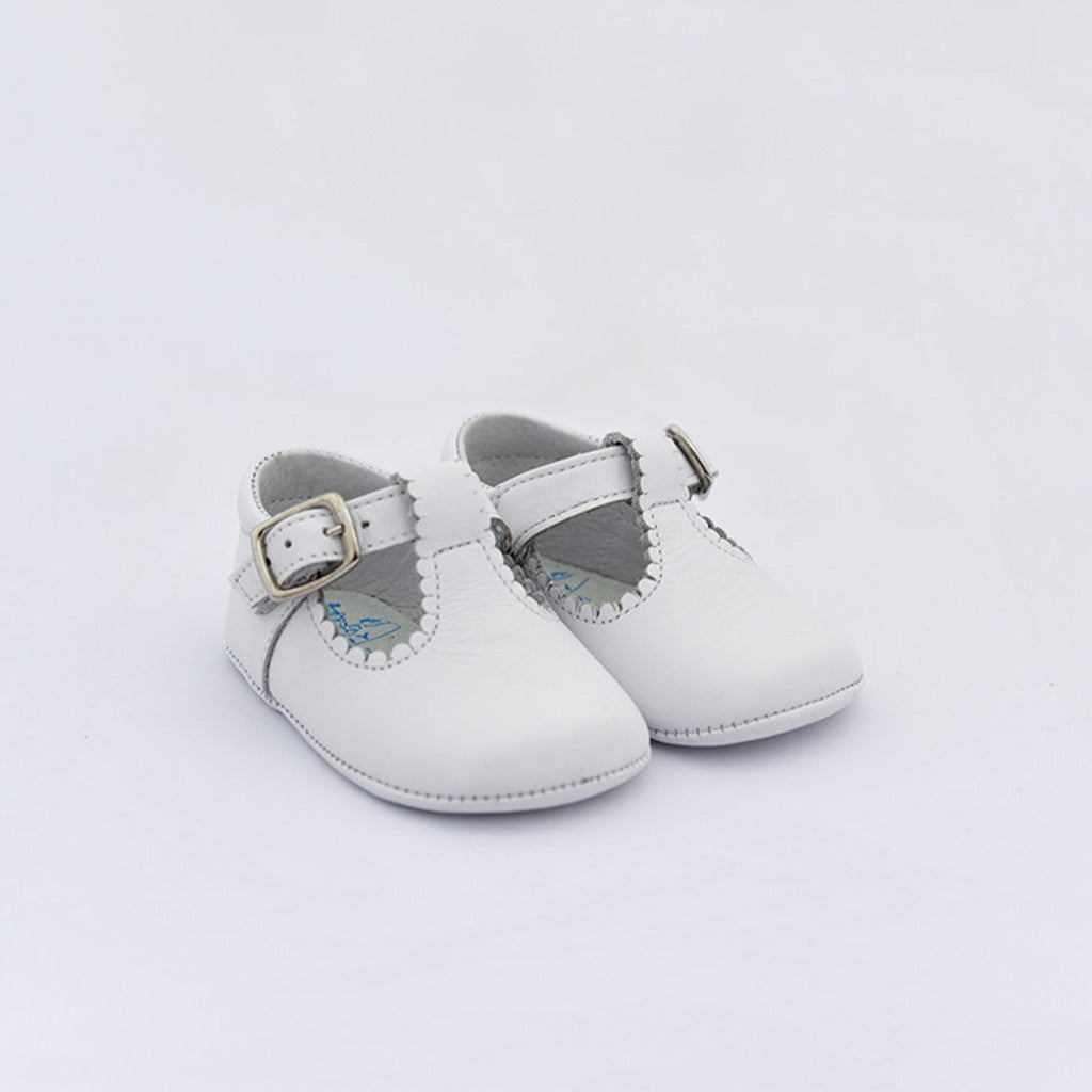 TNY White Leather T-Bar Pre-Walker Shoes
