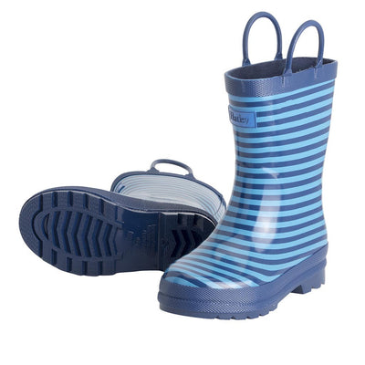 Boys Blue Striped Rainboots
