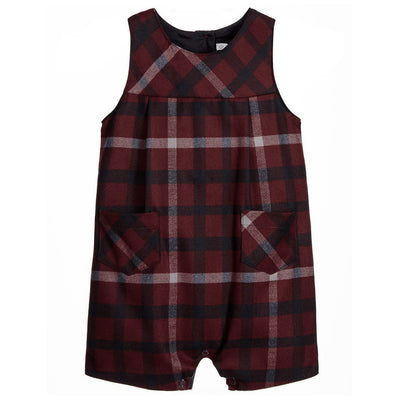 Baby Boys Red & Blue Check Romper