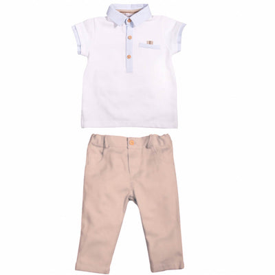 Boys White & Beige Polo Top & Trousers