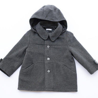 Boys Cappotino Grey Wool Coat