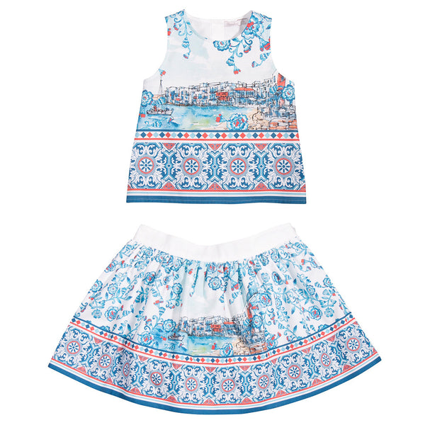Girls Blue & White Cotton Blouse & Skirt