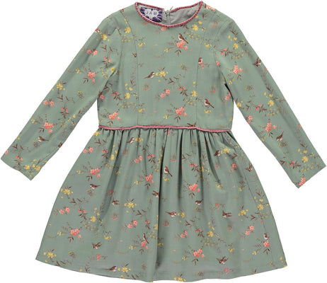 Mint Green Girls Dress With A Bird Print - JAM London