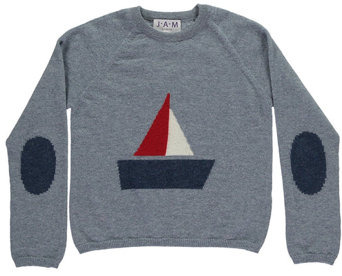 Boys Merino Jumper With A Boat Motif