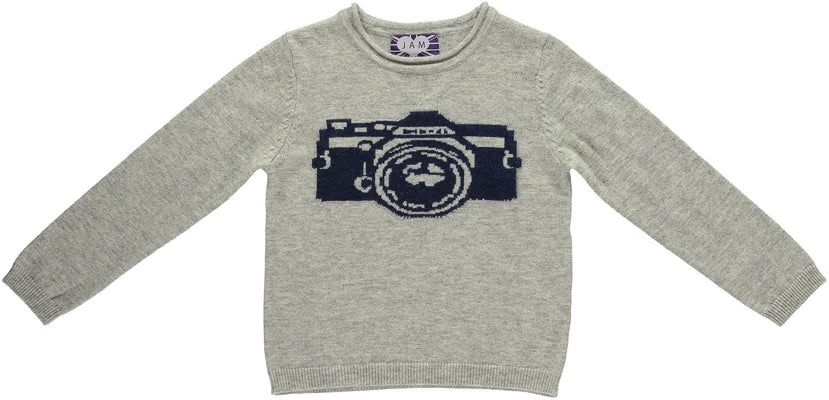 Grey & Navy Camera Jumper