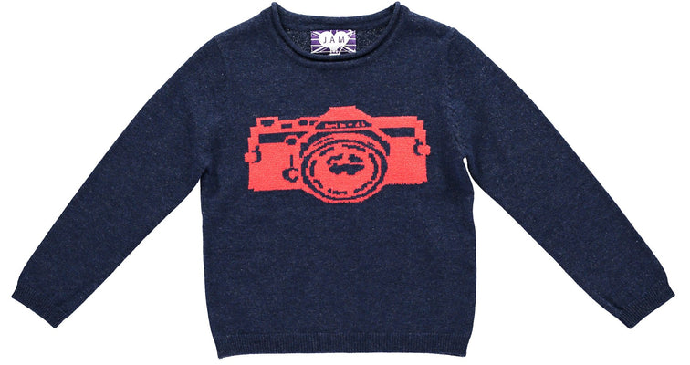 Navy & Red Camera Jumper