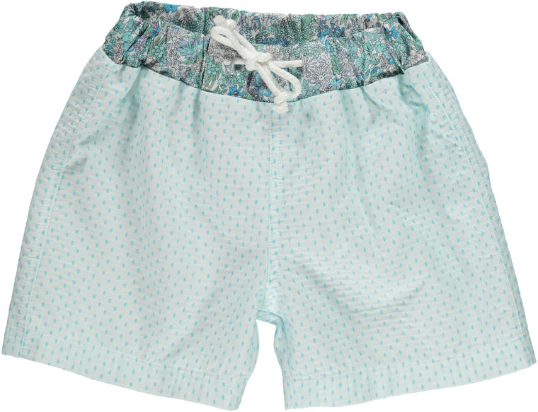 Blue Embroidered Flower Print  Pedro Swim Shorts