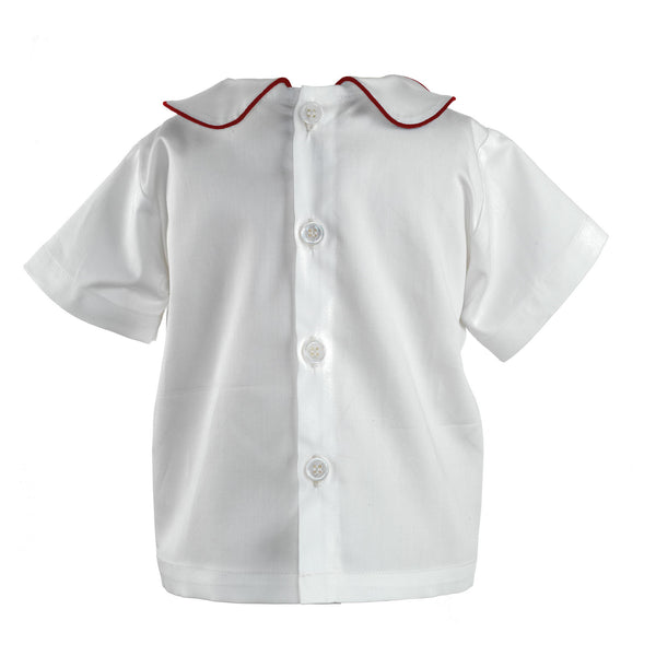 Peter Pan Collar Shirt With Red Trim
