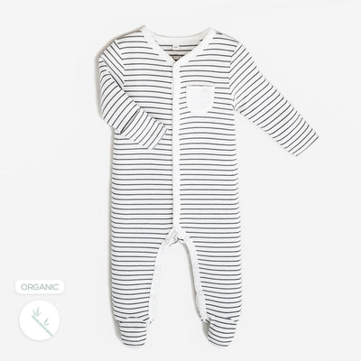 Grey Stripes Front-Opening Sleepsuit