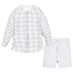Boys Grey Linen Shirt & Short Set