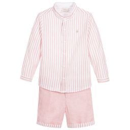 Boys Salmon Linen Shirt & Short Set