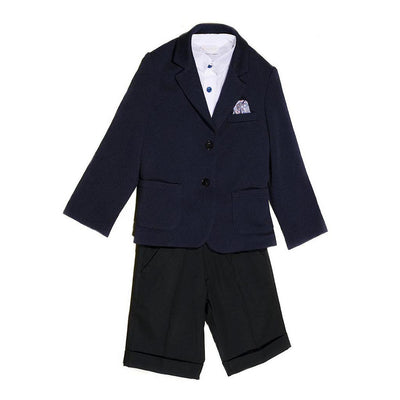 Boys Three Piece Navy Shorts Set
