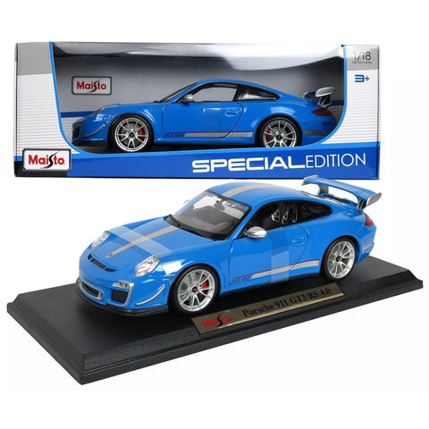 Porsche 911 GT3 RS 4.0 1/18 Blue Special Edition BUNDLE with BONUS 6-8 1:64 Lamborghini & Care Package