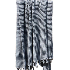 New Moss Knitted Throw Blanket Navy - caché district