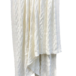 Twisty Knitted Throw Blanket Ivory - caché district