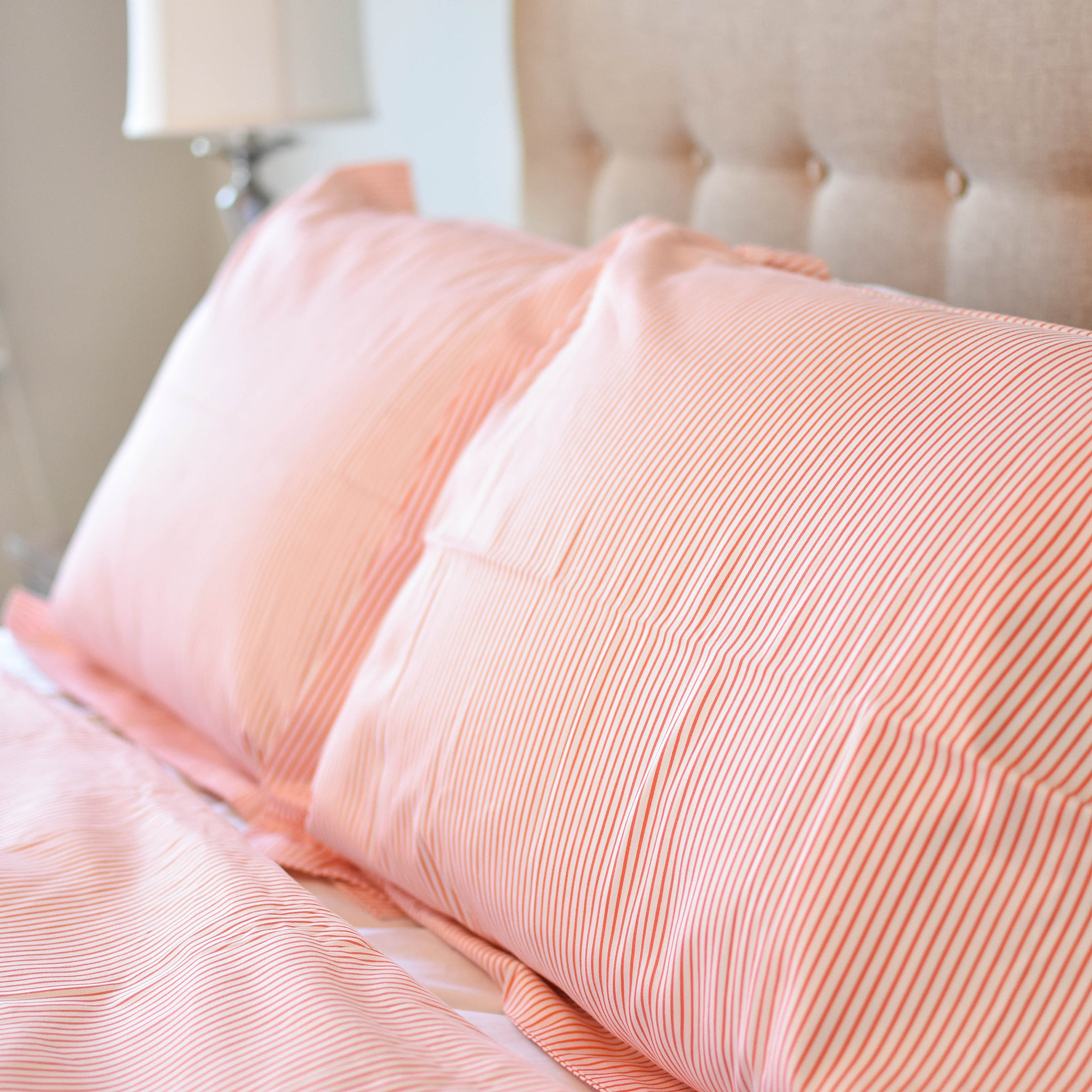 Pinstripe Duvet Set in Orange - caché district