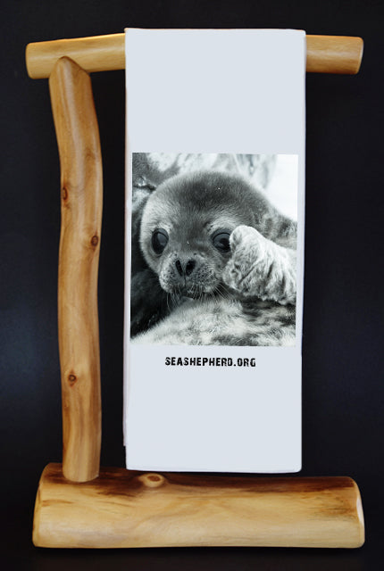 20% Net Proceeds Benefits SEA SHEPHERD CONSERVATION SOCIETY. BABY SEAL Dish Towel & Reusable Bag!