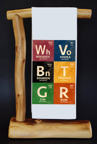 "Boozy Elements Periodic Table (Distressed) 17"" x 30"" Dish Towel & Gift Bag Set!"