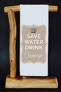 Save Water Drink Champagne Dish Towel & Reusable Bag!