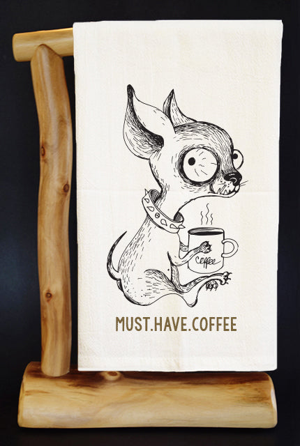 20% Net Proceeds Benefits ANIMAL RESCUE. MUST. HAVE. COFFEE CHIHUAHUA DOG Dish Towel & Reusable Bag!