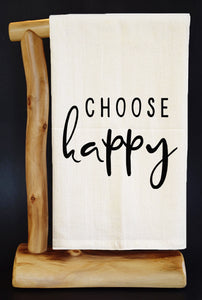 "CHOOSE HAPPY 28"" x 29"" Premium Flour Sack Dish Towel & Reusable Bag!"