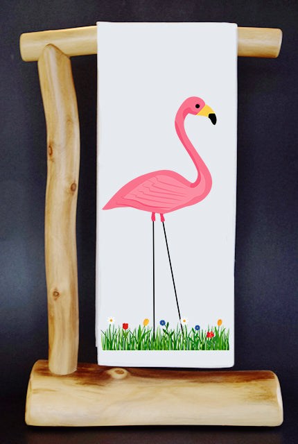 20% Net Proceeds Benefits Flamingo Gardens Wildlife Sanctuary! Plastic Pink Flamingo Dish Towel & Reusable Bag!