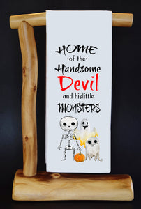 HANDSOME DEVIL & HIS 3 LITTLE MONSTERS Dish Towel & Gift Bag Set