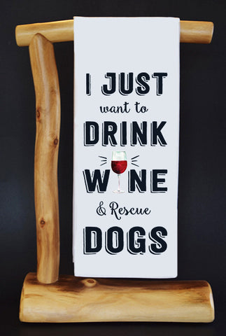 $5 Benefits BADASS BROOKLYN ANIMAL RESCUE. Drink Wine & Rescue CharityRagg Dish Towel & Gift Bag.