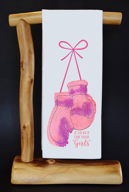 20% Net Proceeds Benefits NATIONAL BREAST CANCER FOUNDATION. Fight For Your Girls Dish Towel & Reusable Bag!