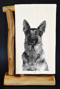 "20% Net Proceeds BENEFITS COASTAL GERMAN SHEPHERD. GERMAN SHEPHERD HEAD 28"" x 29"" Premium Flour Sack Dish Towel & Reusable Bag!"