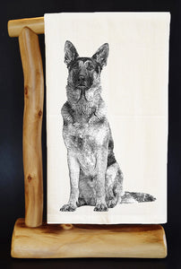 "20% Net Proceeds BENEFITS COASTAL GERMAN SHEPHERD. GERMAN SHEPHERD SITTING SKETCH 28"" x 29"" Premium Flour Sack Dish Towel & Reusable Bag!"